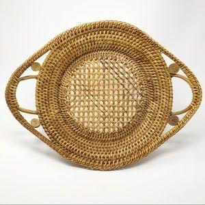 Vintage Wicker & Rattan Platter Tray Basket